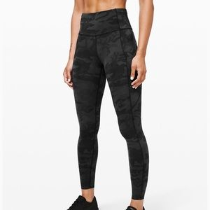 Lululemon Fast and Free Gray Camo Leggings NEW